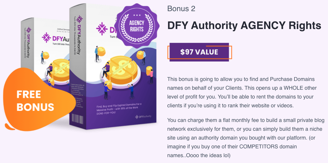 DFY Authority bonus